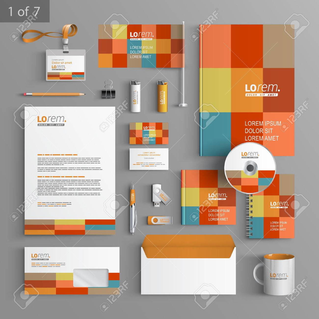 Color Corporate Identity Template Design With Square Elements ...