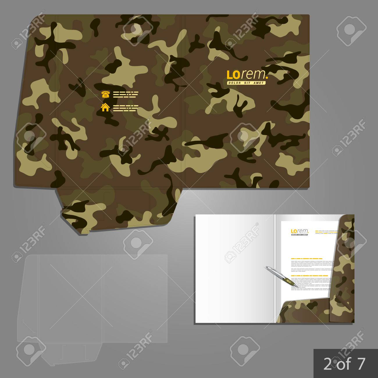 Military Folder Template Design For Company With Camouflage ...