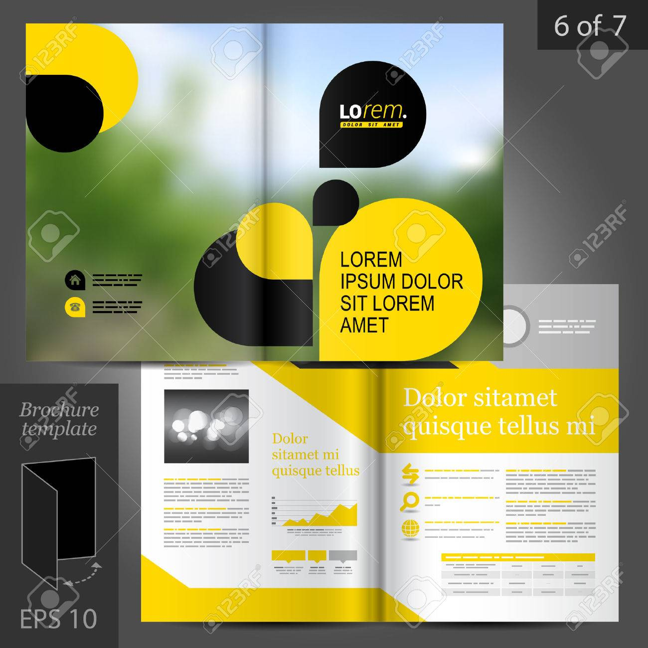 business vector brochure template design with black and yellow geometric elements stock vector 41425388