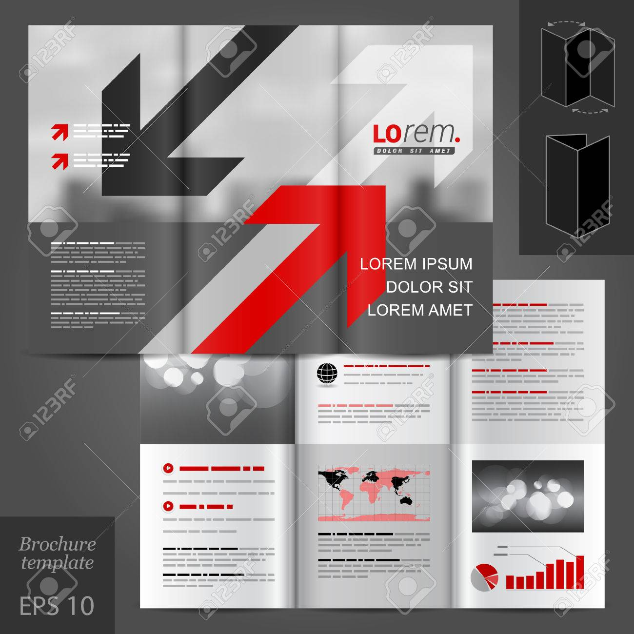 Gray Business Vector Brochure Template Design With Red And Black ...
