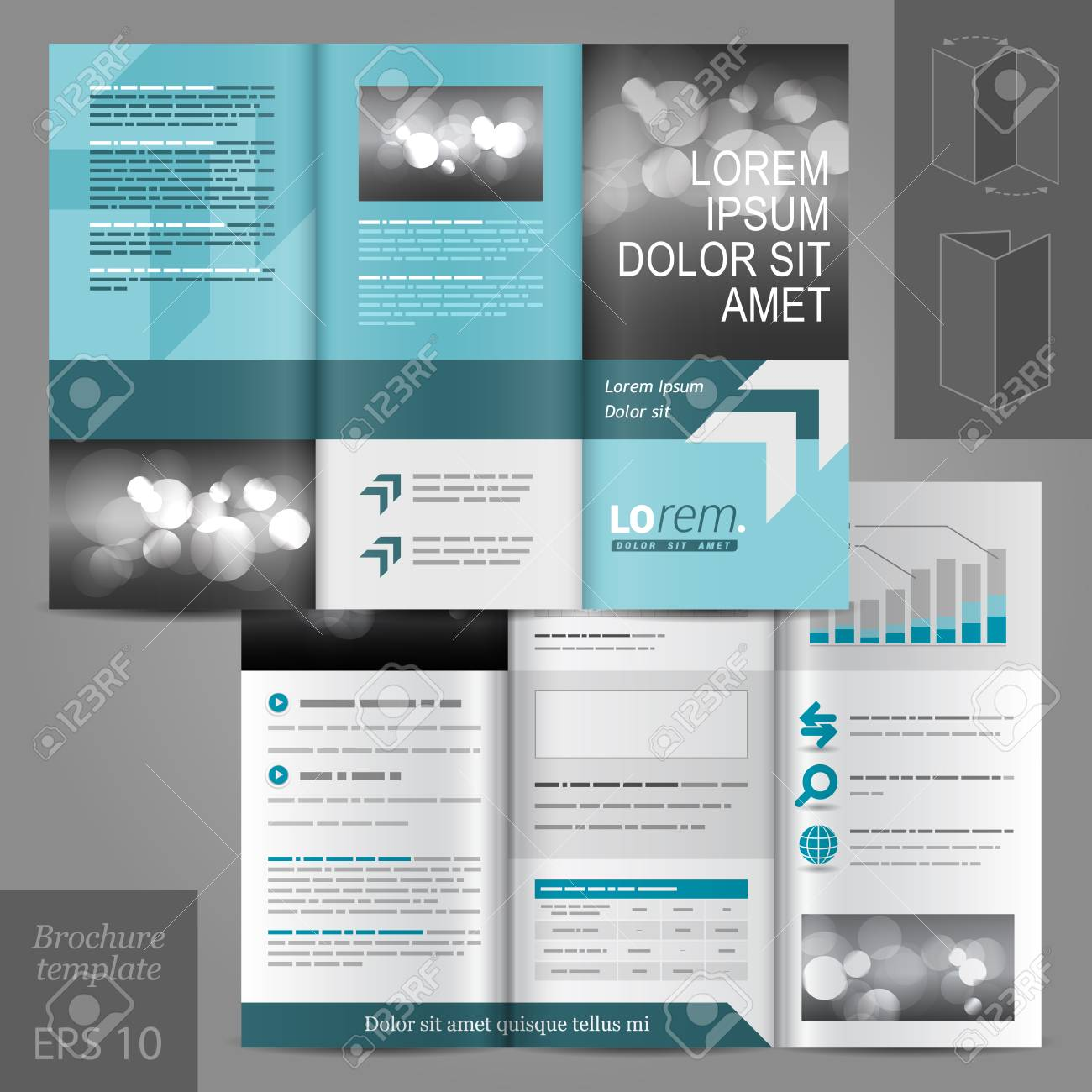 blue business vector brochure template design with place for