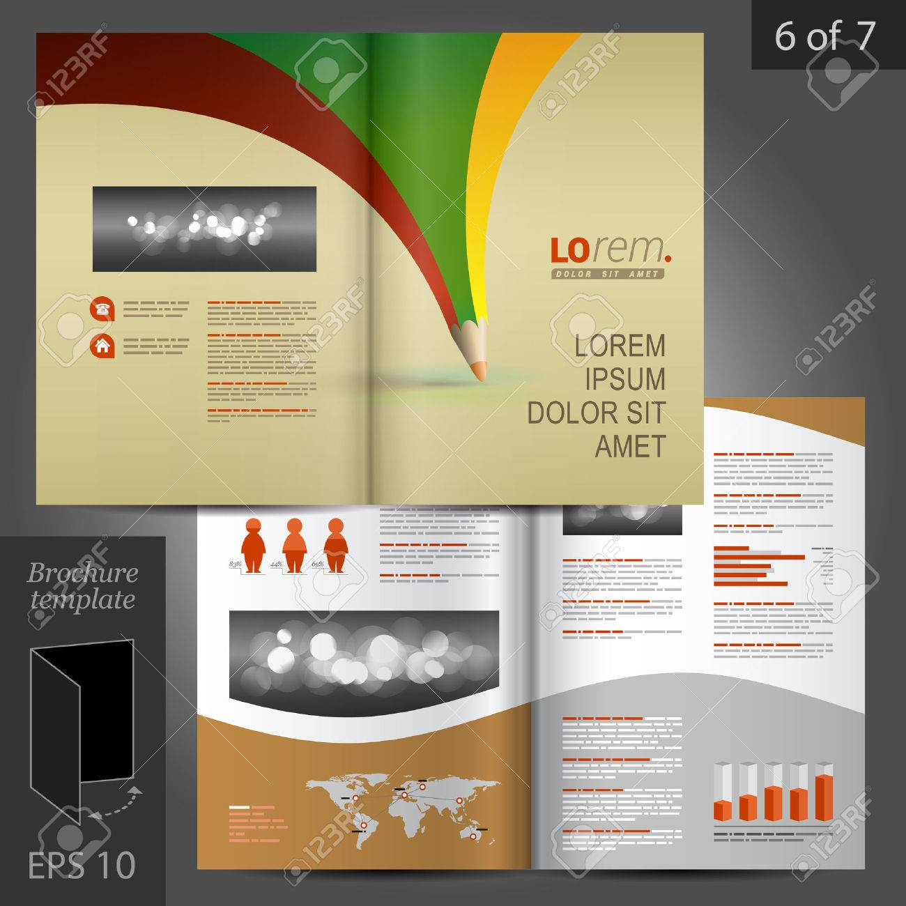 Creative Vector Brochure Template Design With Color Pencil Royalty