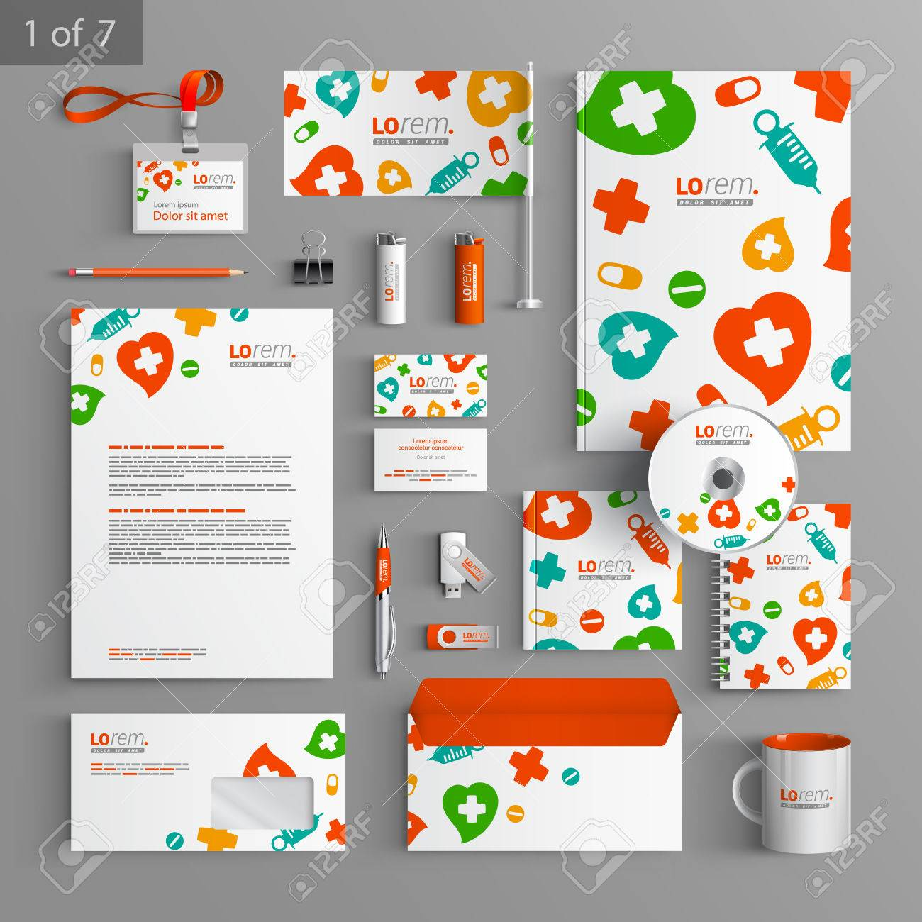 White stationery template design with color medical elements. Documentation for business. Stock Vector - 41425923