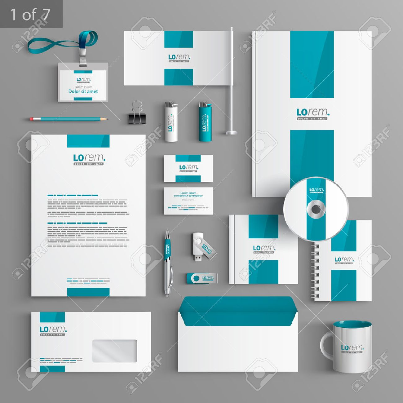 white stationery template design with blue central element