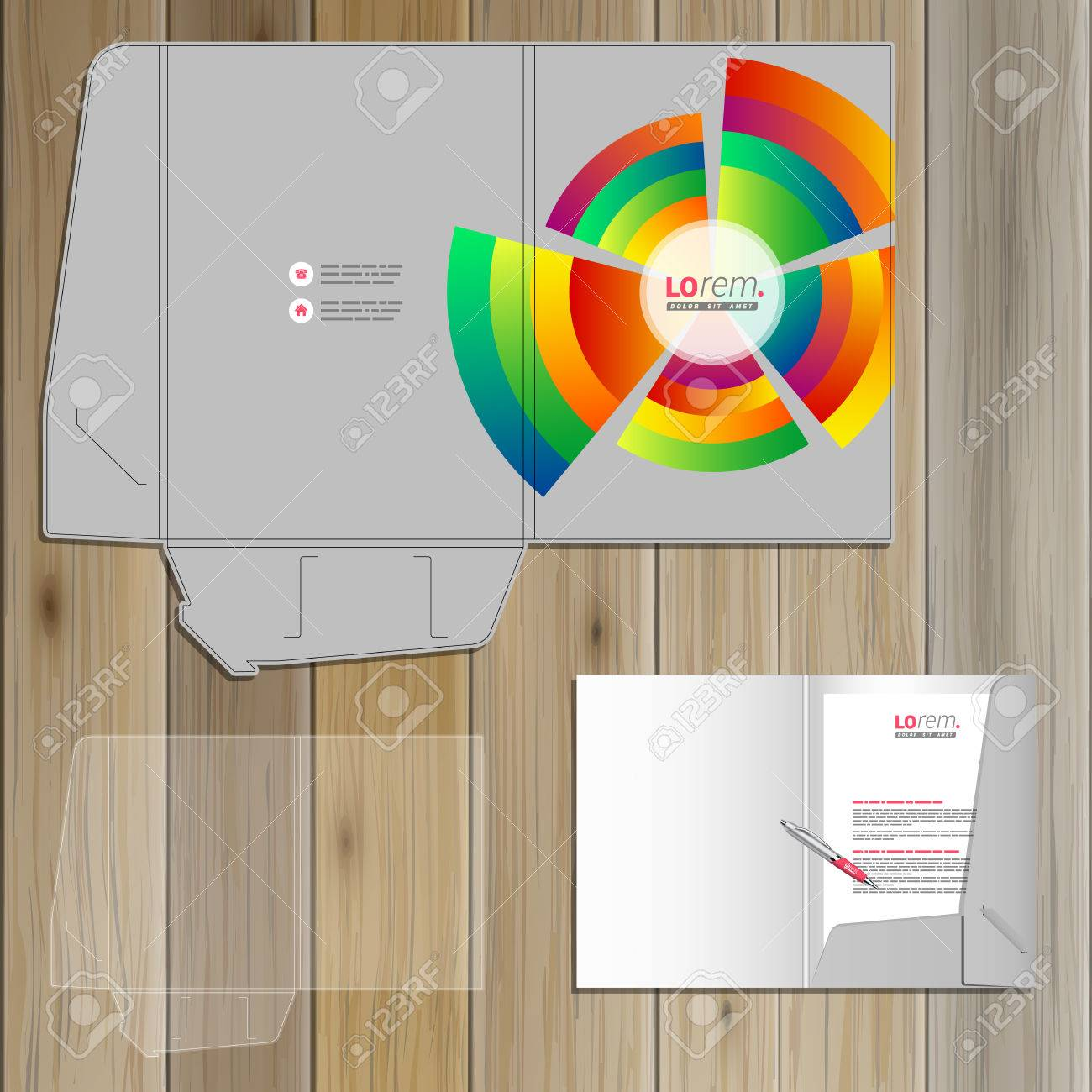 gray folder template design for corporate identity with color