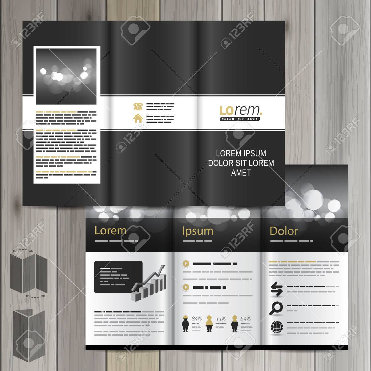 black classic brochure template design with white line cover layout stock vector 41427024
