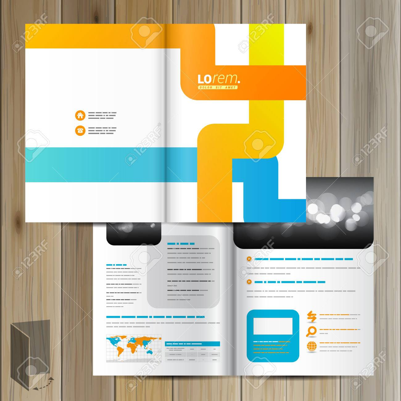 White Creative Brochure Template Design With Blue And Orange
