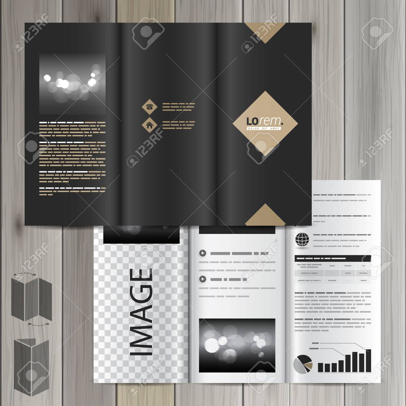 Classic Black Brochure Template Design With Rhombus Cover Layout