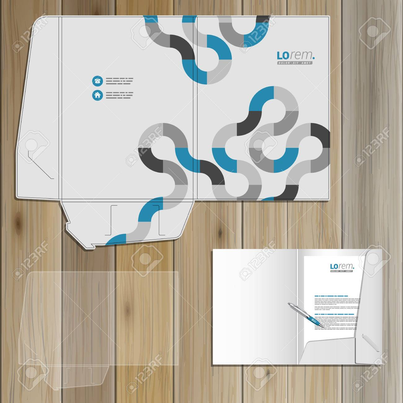 gray folder template design for corporate identity with blue