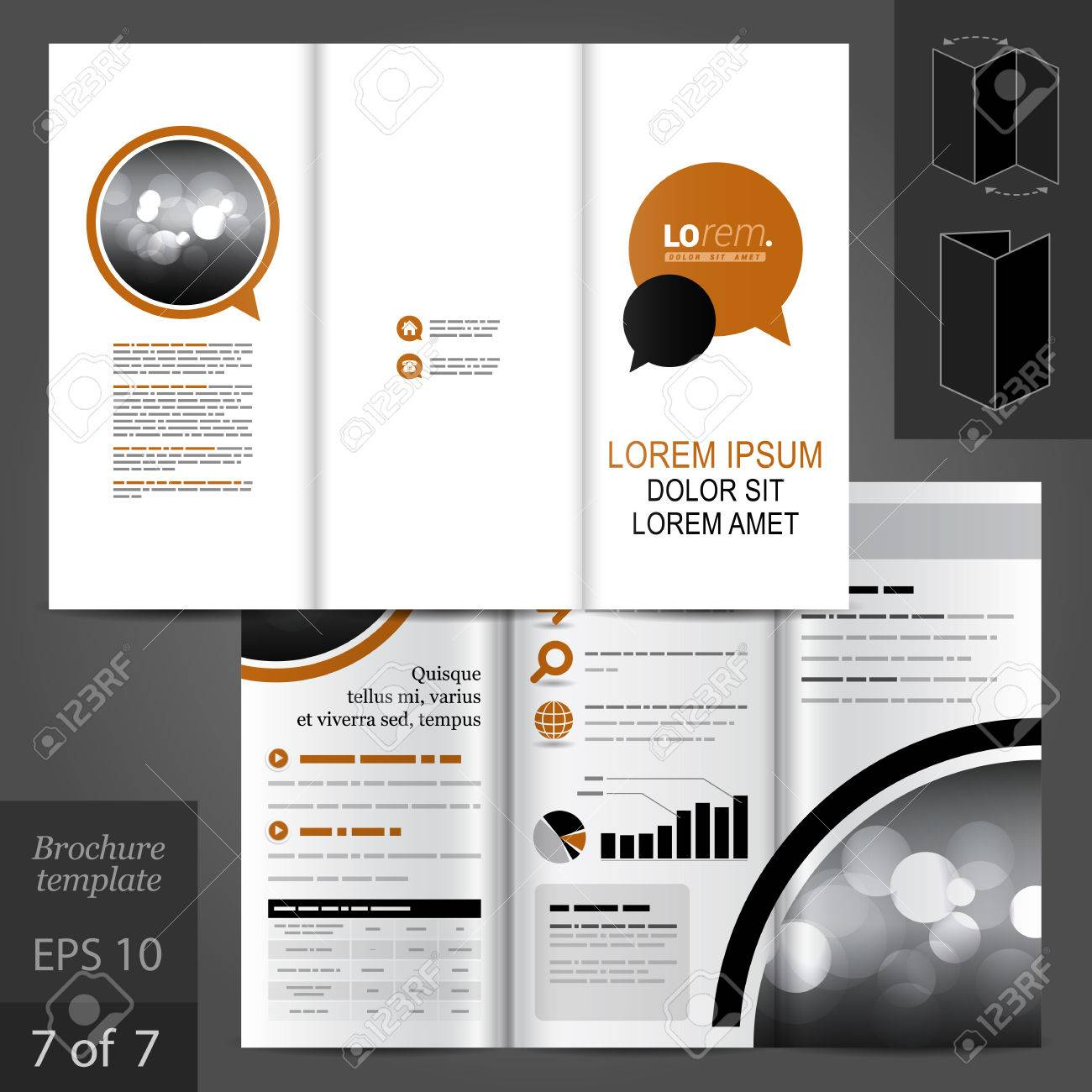 white vector brochure template design with brown and black dialog