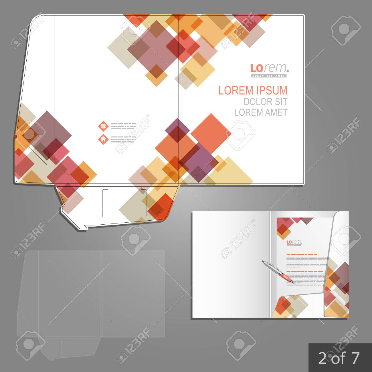 white folder template design for corporate identity with red