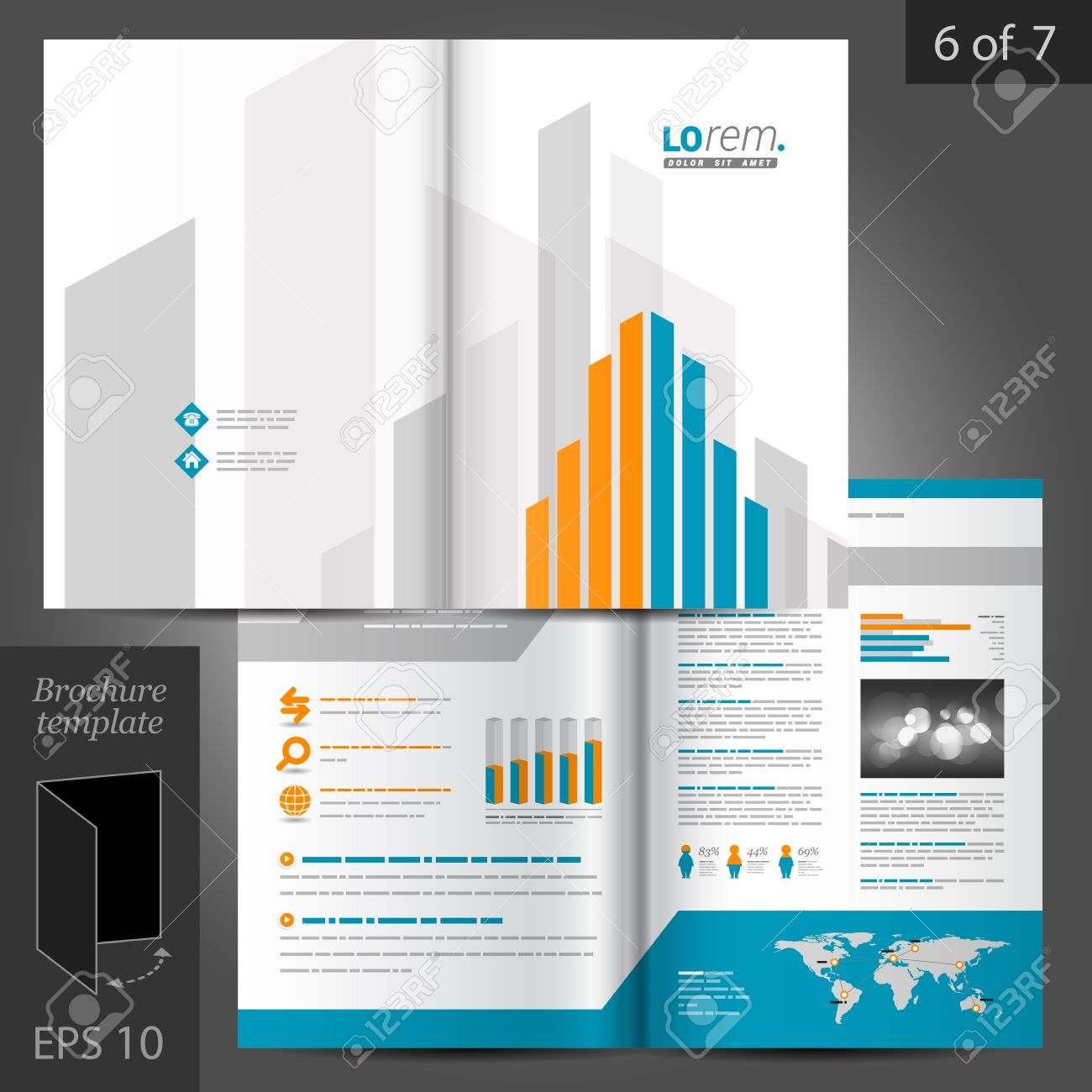 White Brochure Template Design With Orange And Blue Building - Brochure template ideas