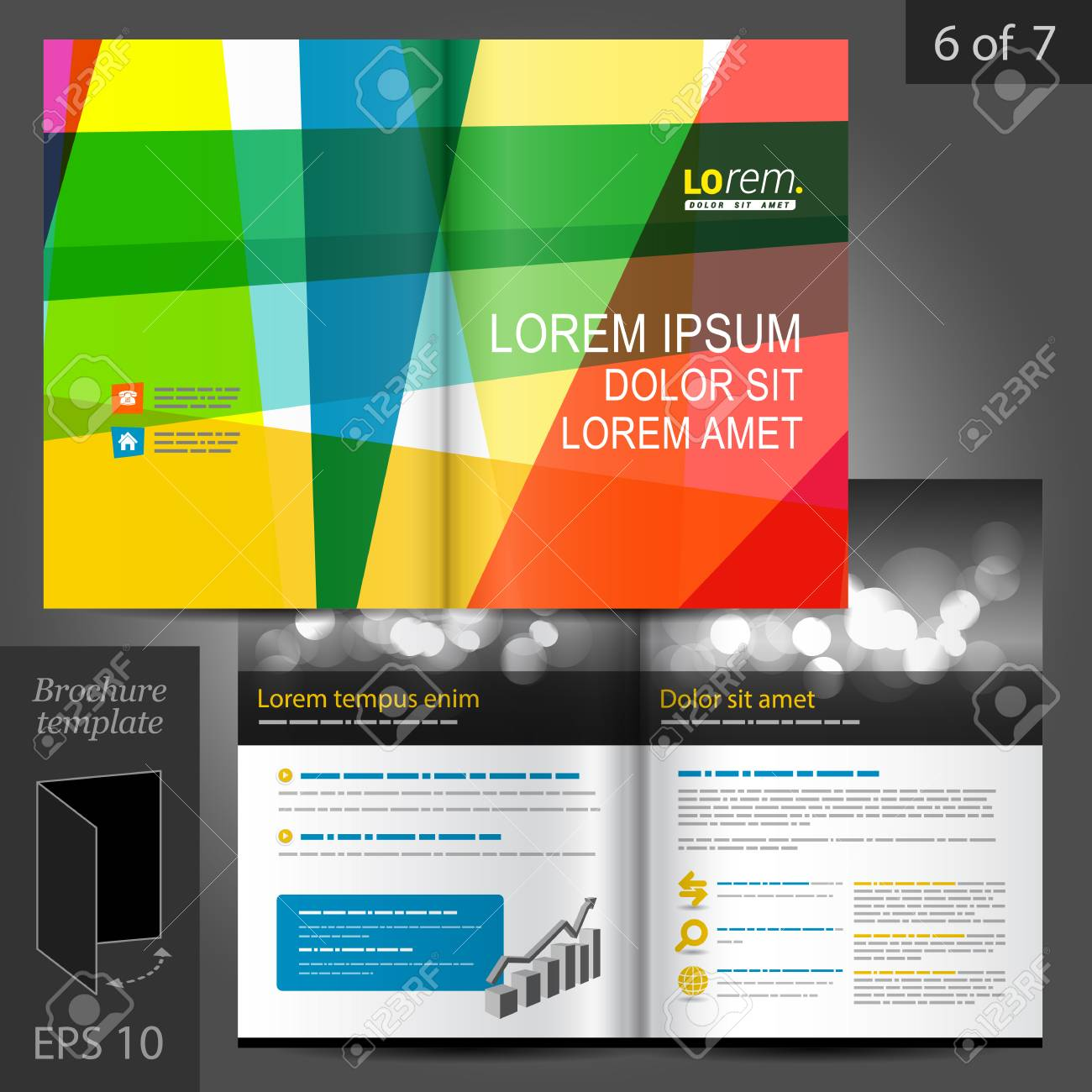 Creative Brochure Template Design With Color Art Elements Cover