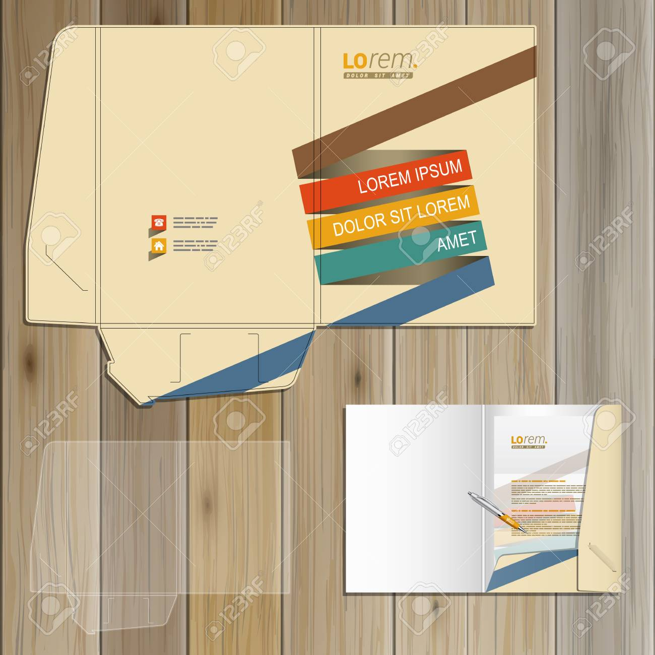 folder template design for corporate identity with color stripes