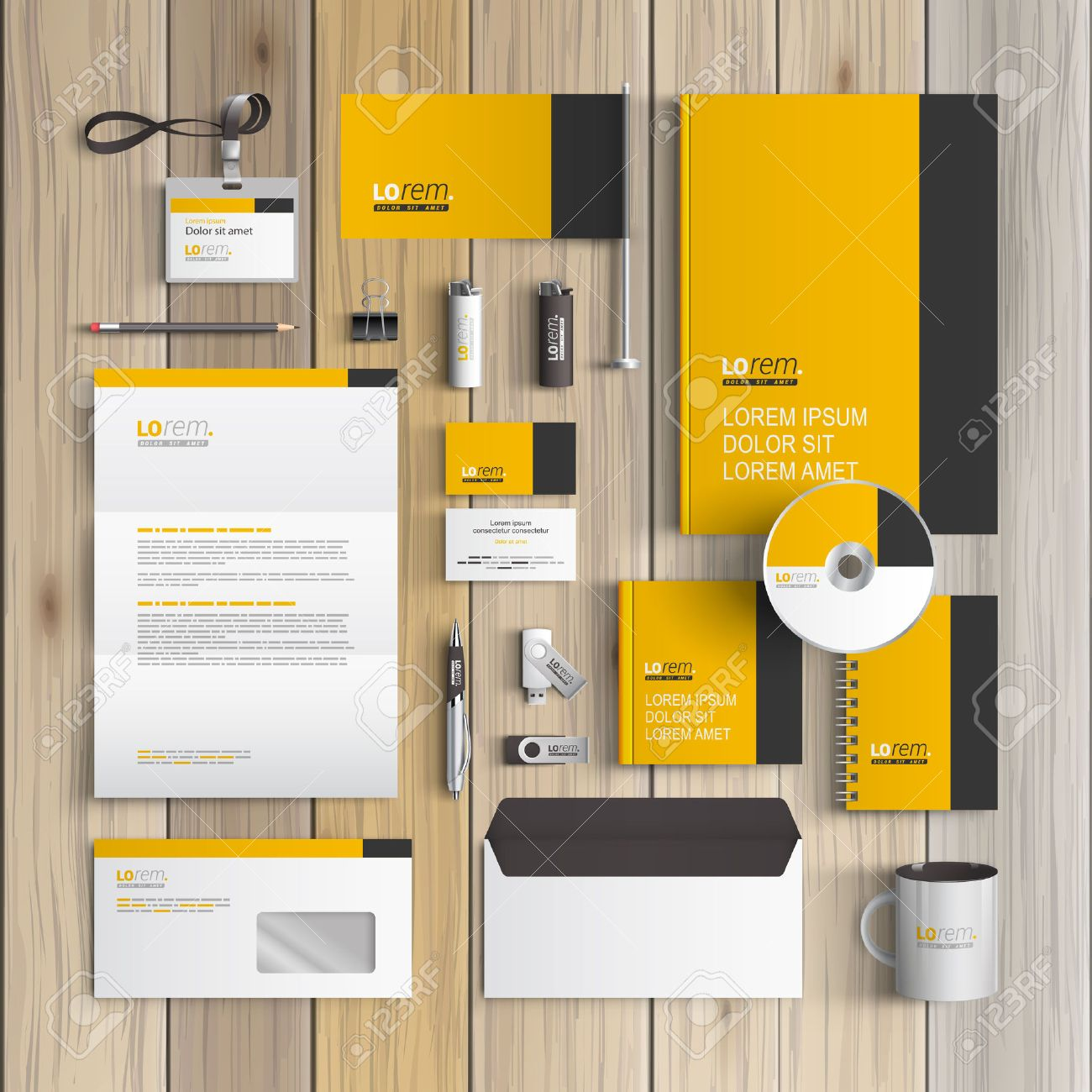 Classic yellow corporate identity template design with black classic yellow corporate identity template design with black vertical line business stationery stock vector spiritdancerdesigns Gallery