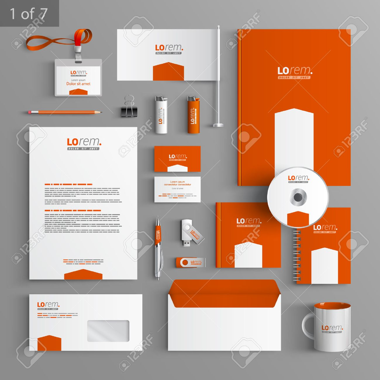 orange stationery template design with white arrow documentation