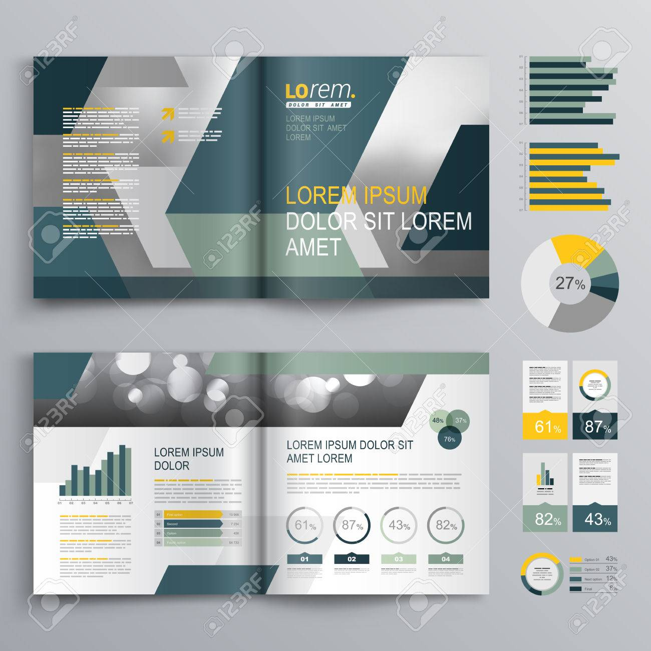 gray brochure template design with blue and green geometric shapes