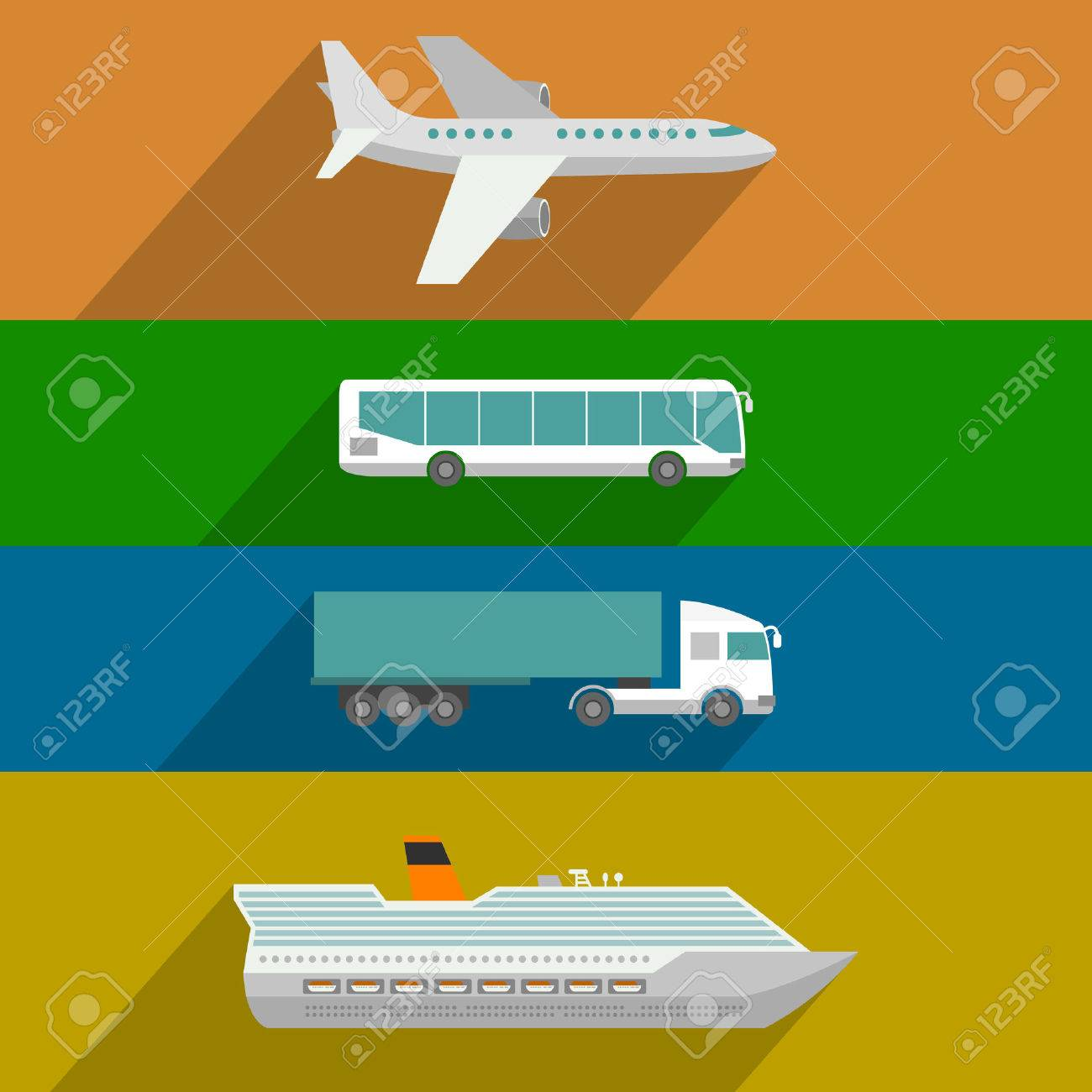 Global transportation. Plane, cruise liner, bus and truck icons. Flat design illustration Stock Vector - 42339177
