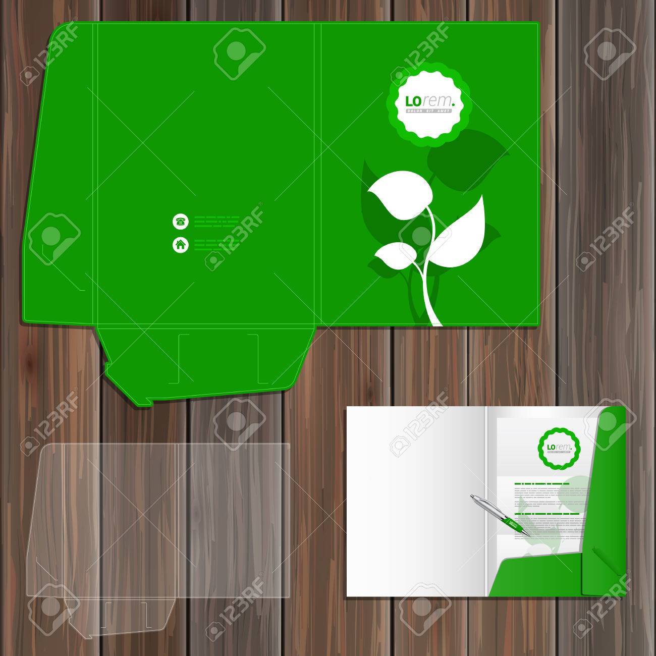 floral green folder template design for corporate identity with