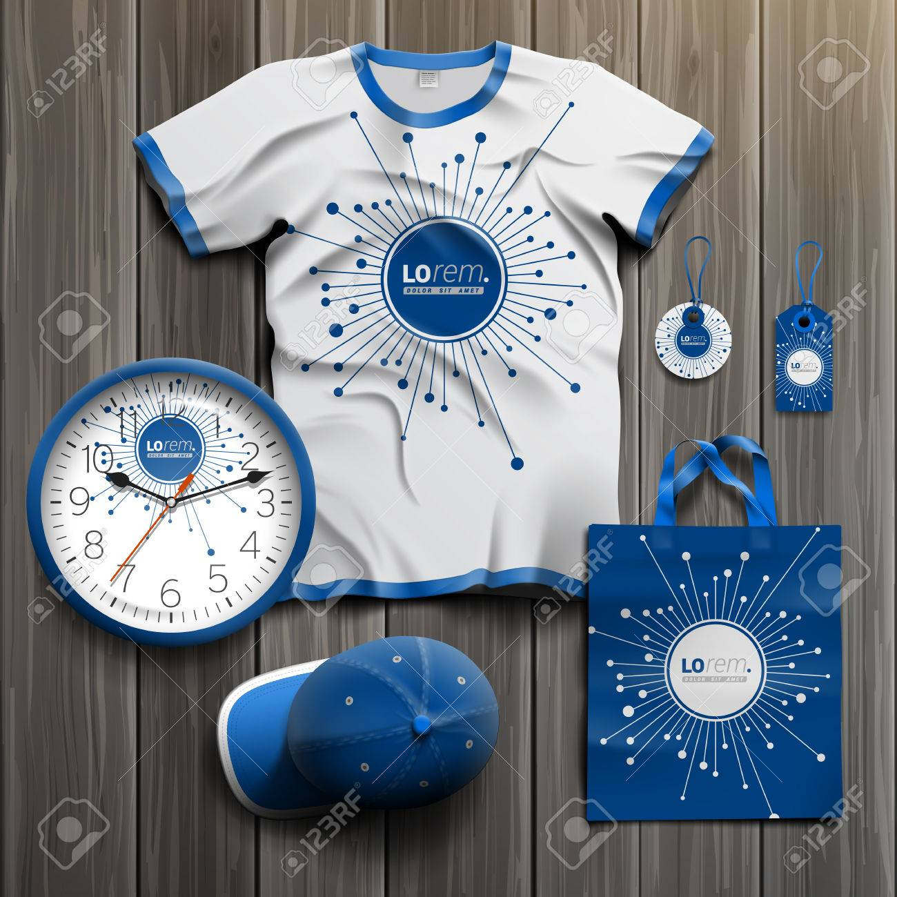Blue digital promotional souvenirs design for corporate identity with optical fiber elements. Stationery set - 42339914