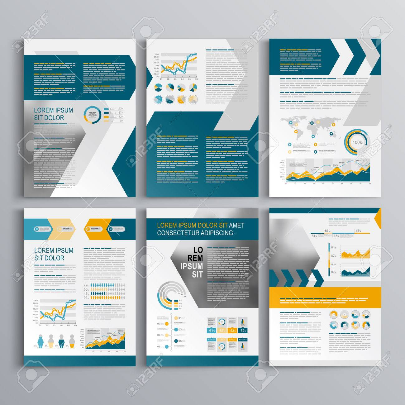 Dynamic Brochure Template Design With Yellow And Blue Arrows - Infographic brochure template