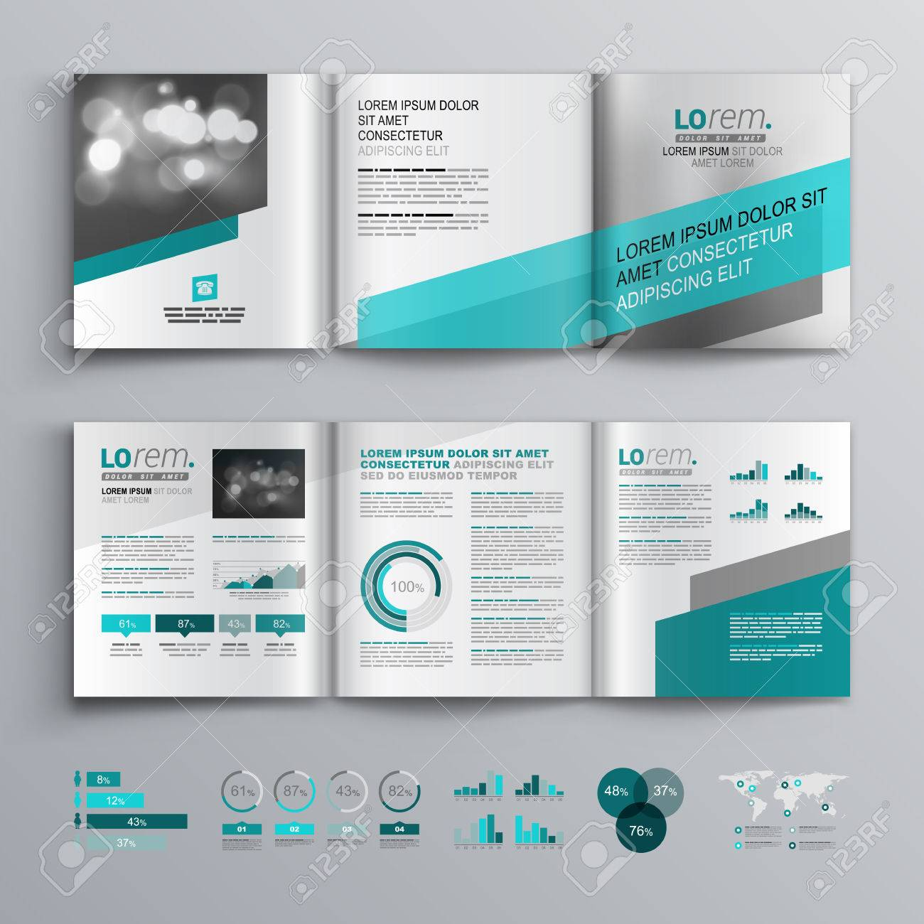 Gray Brochure Template Design With Green Diagonal Shapes Cover - Infographic brochure template