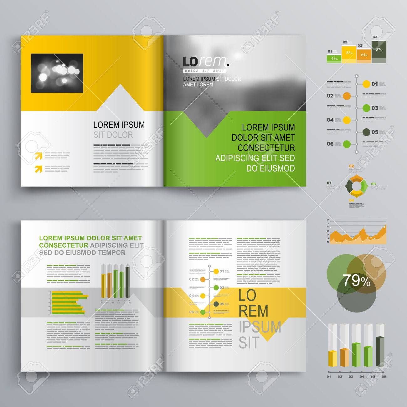 White Brochure Template Design With Green Orange And Yellow - Brochure templates design