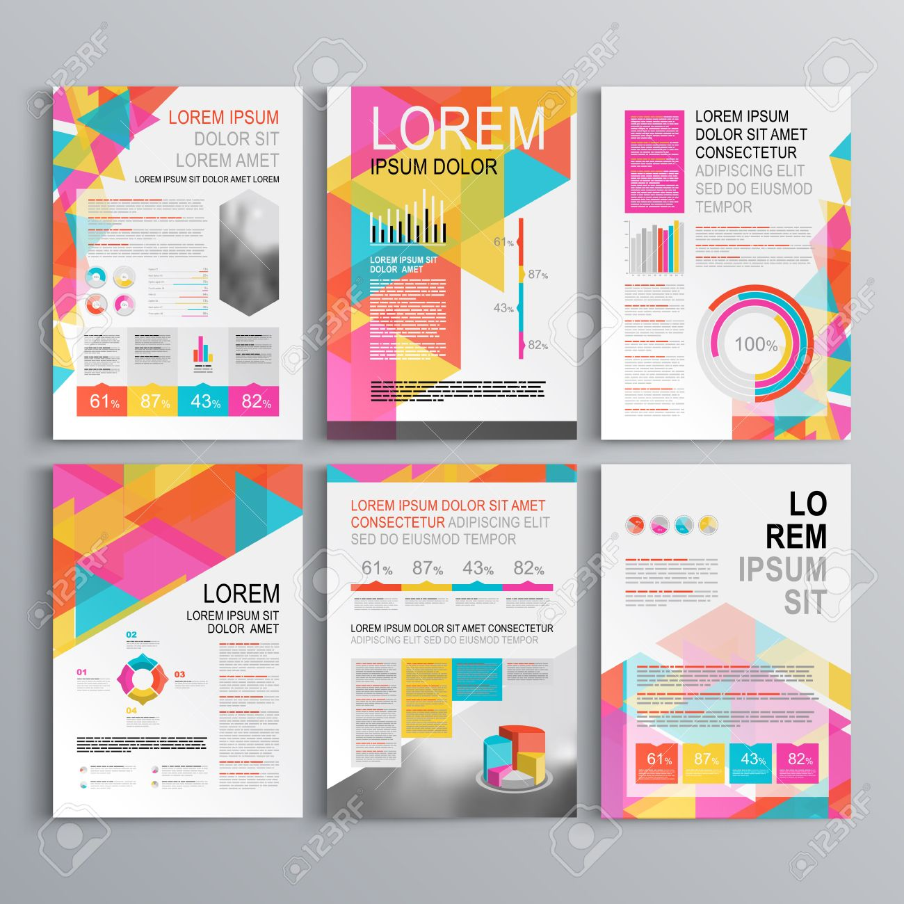 white creative brochure template design with color pattern of
