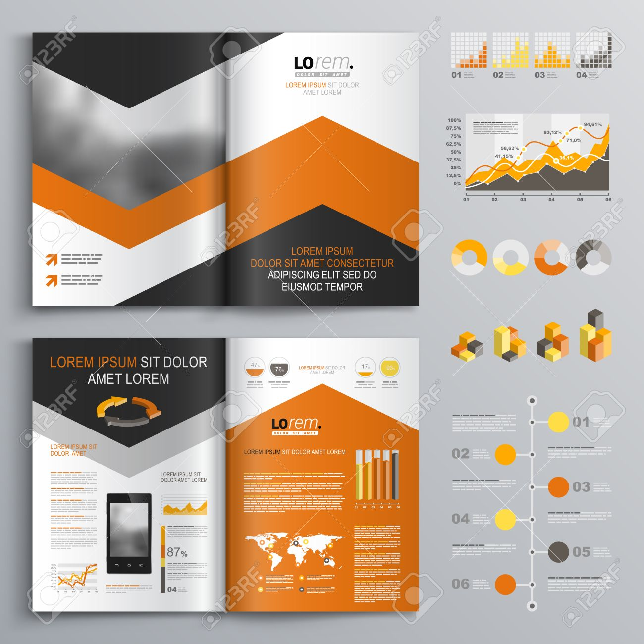 classic white brochure template design with black and orange arrows cover layout and infographics stock