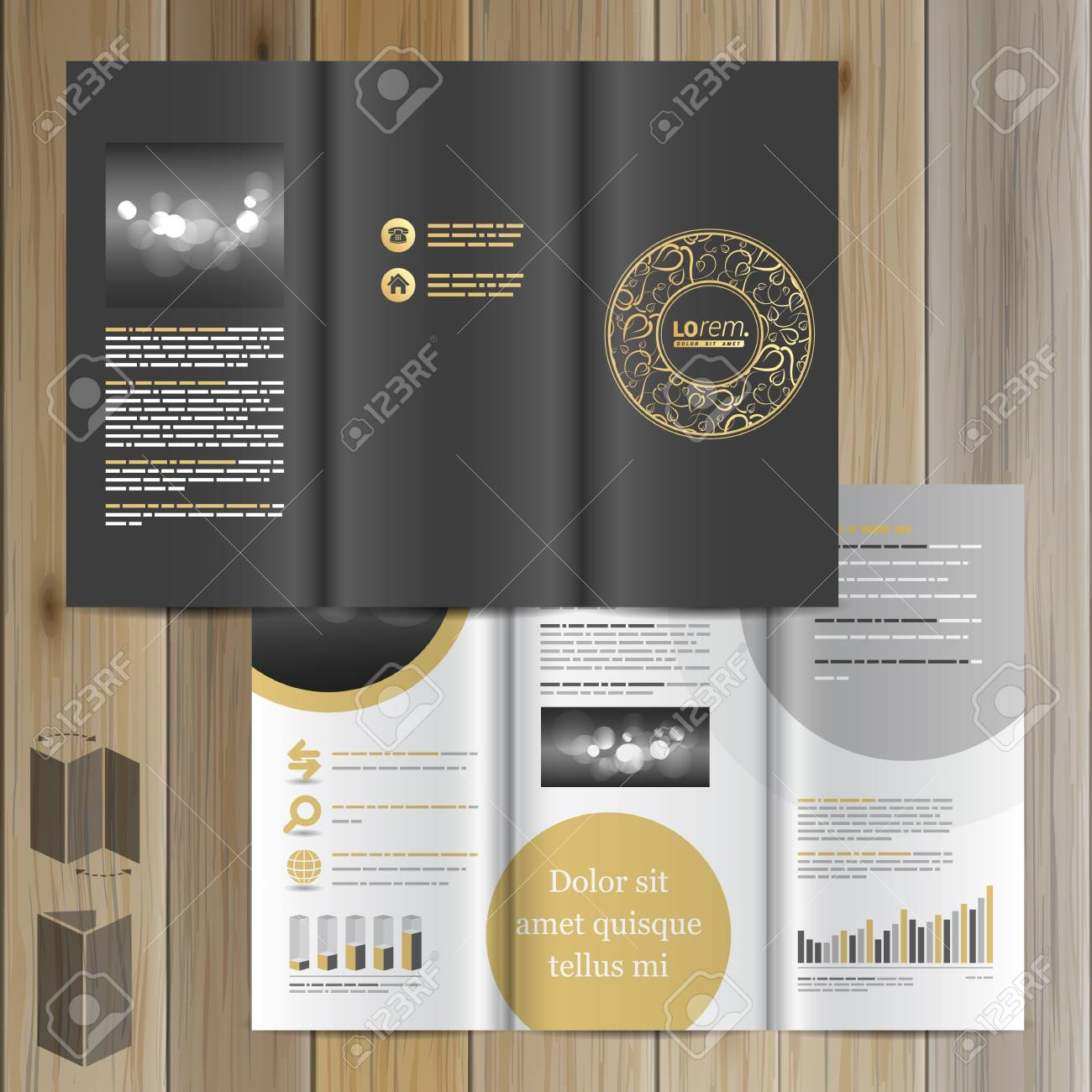 Black Brochure Template Design With Round Golden Element And