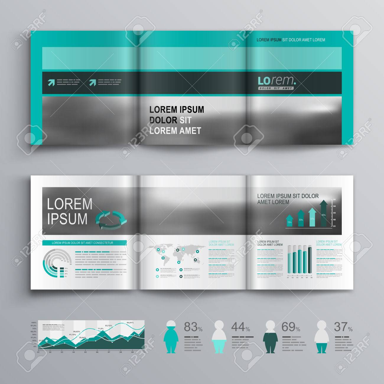 Classic Green Brochure Template Design With Square Horizontal - Horizontal brochure template