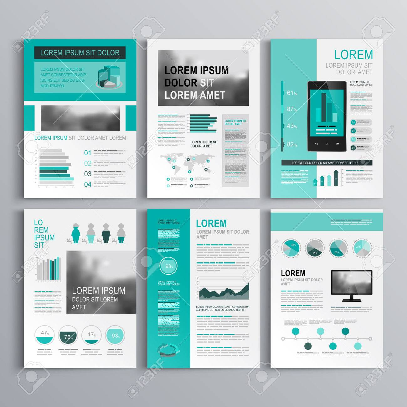 Classic Green Brochure Template Design With Square Horizontal ...