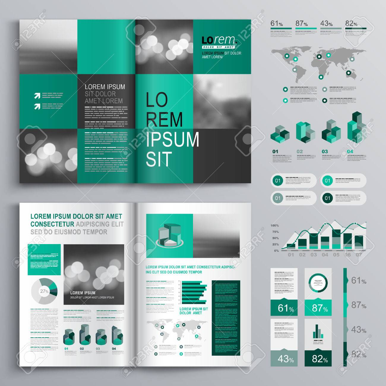 checkered green brochure template design with square shapes