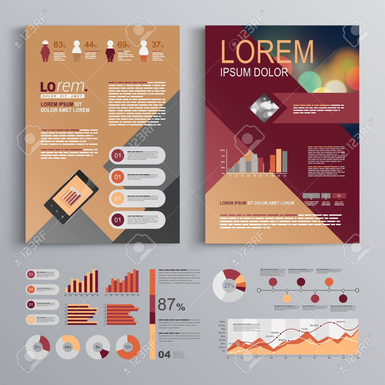 fashion brochure template design with red and gray square shapes cover layout and infographics stock - Fashion Brochure Template