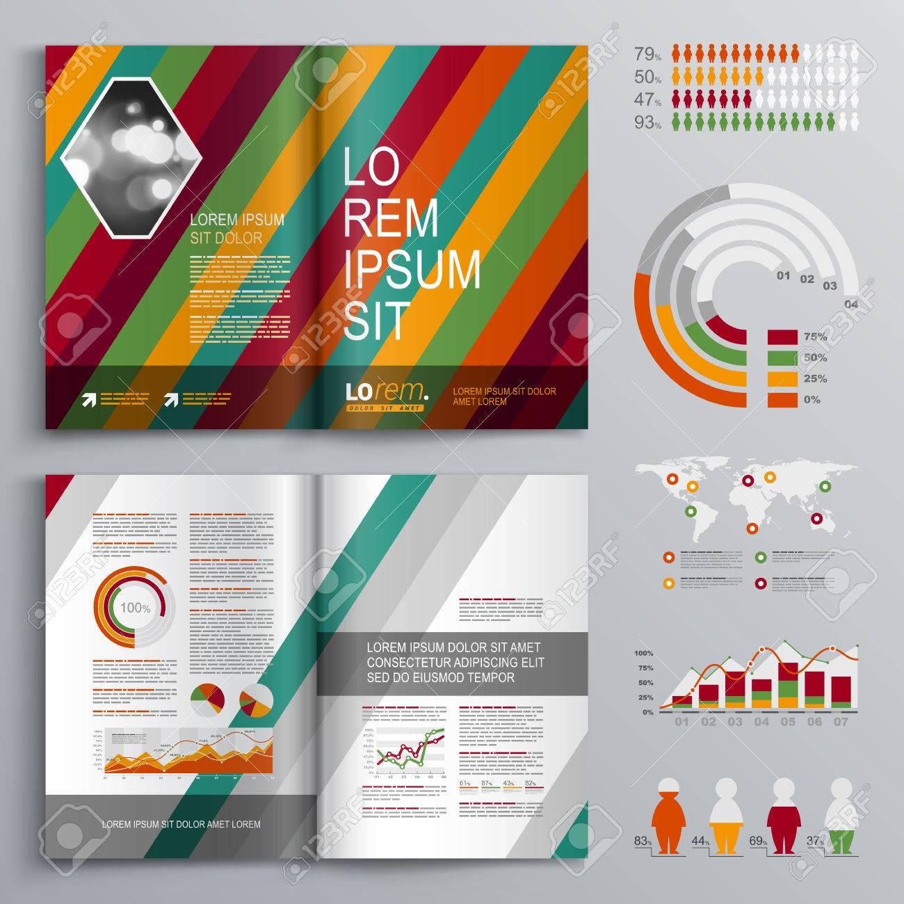 Fashion Brochure Template Design With Color Diagonal Stripes - Fashion brochure templates