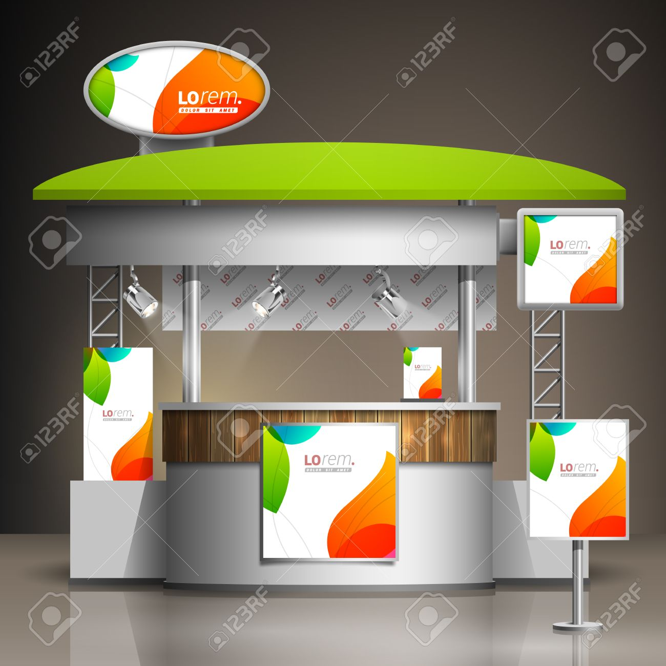 Exhibition Stand White : White creative exhibition stand design with color shapes booth