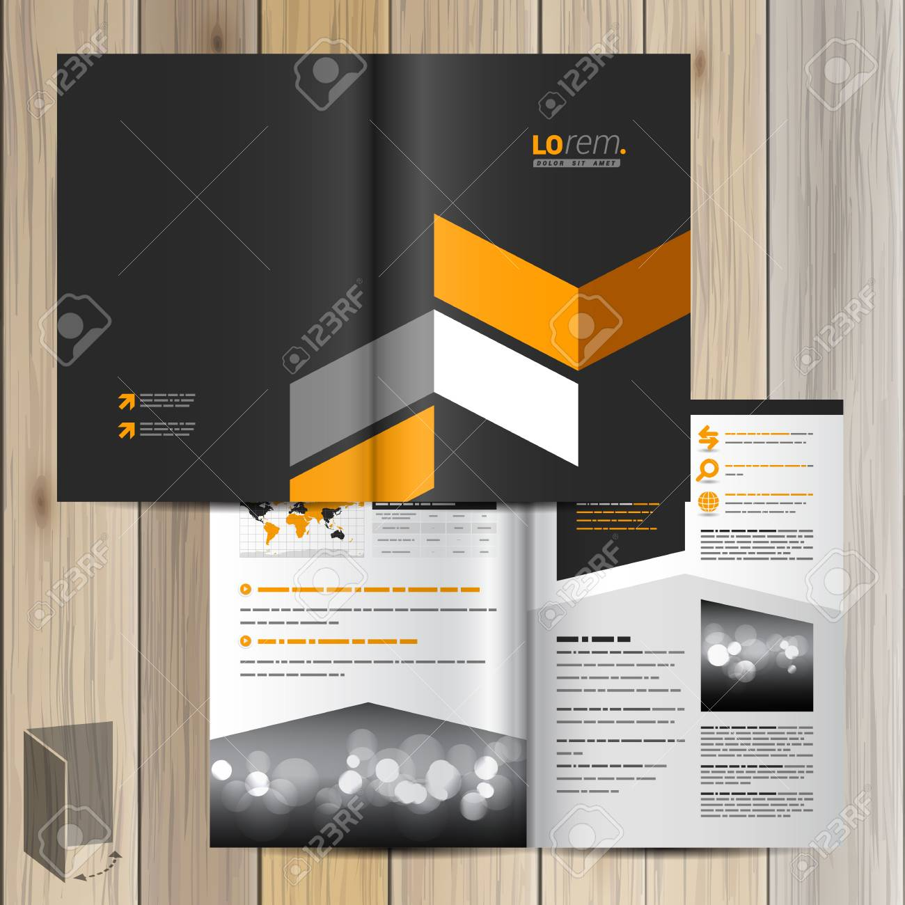 Classic Black Brochure Template Design With Yellow Geometric