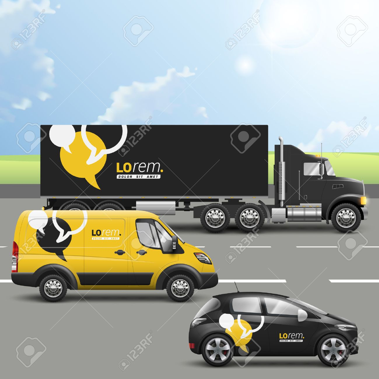 Black And Yellow Transport Advertising Design With Dialog Clouds – Bus Pass Template