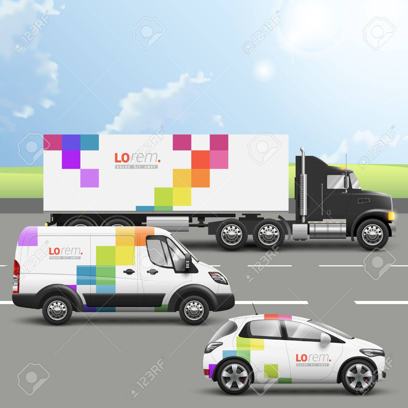 white transport advertising design with color square pattern