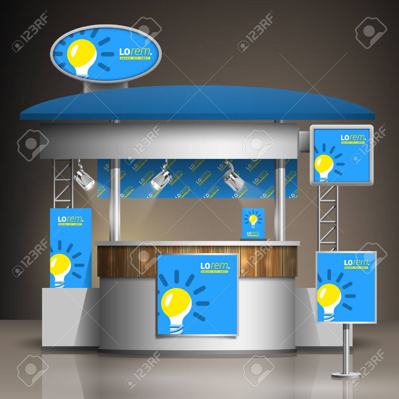 Exhibition Stall Lights : Blue exhibition stand design with yellow light bulb booth