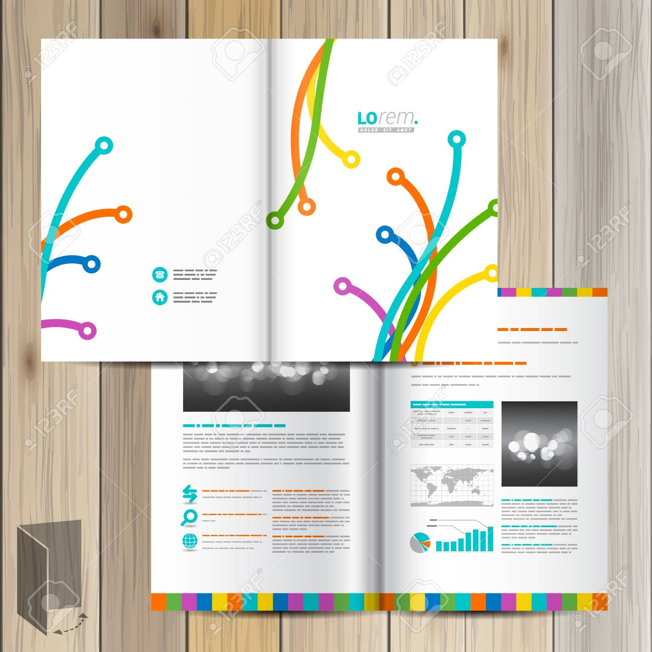 White Creative Brochure Template Design With Color Art Lines