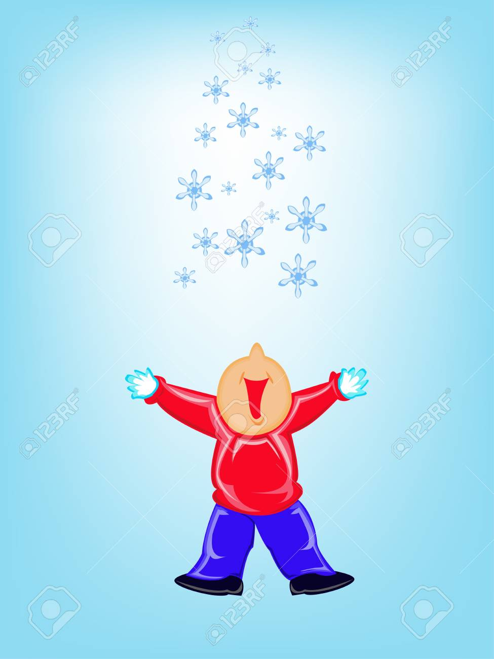 Kid and snow Stock Vector - 16214230