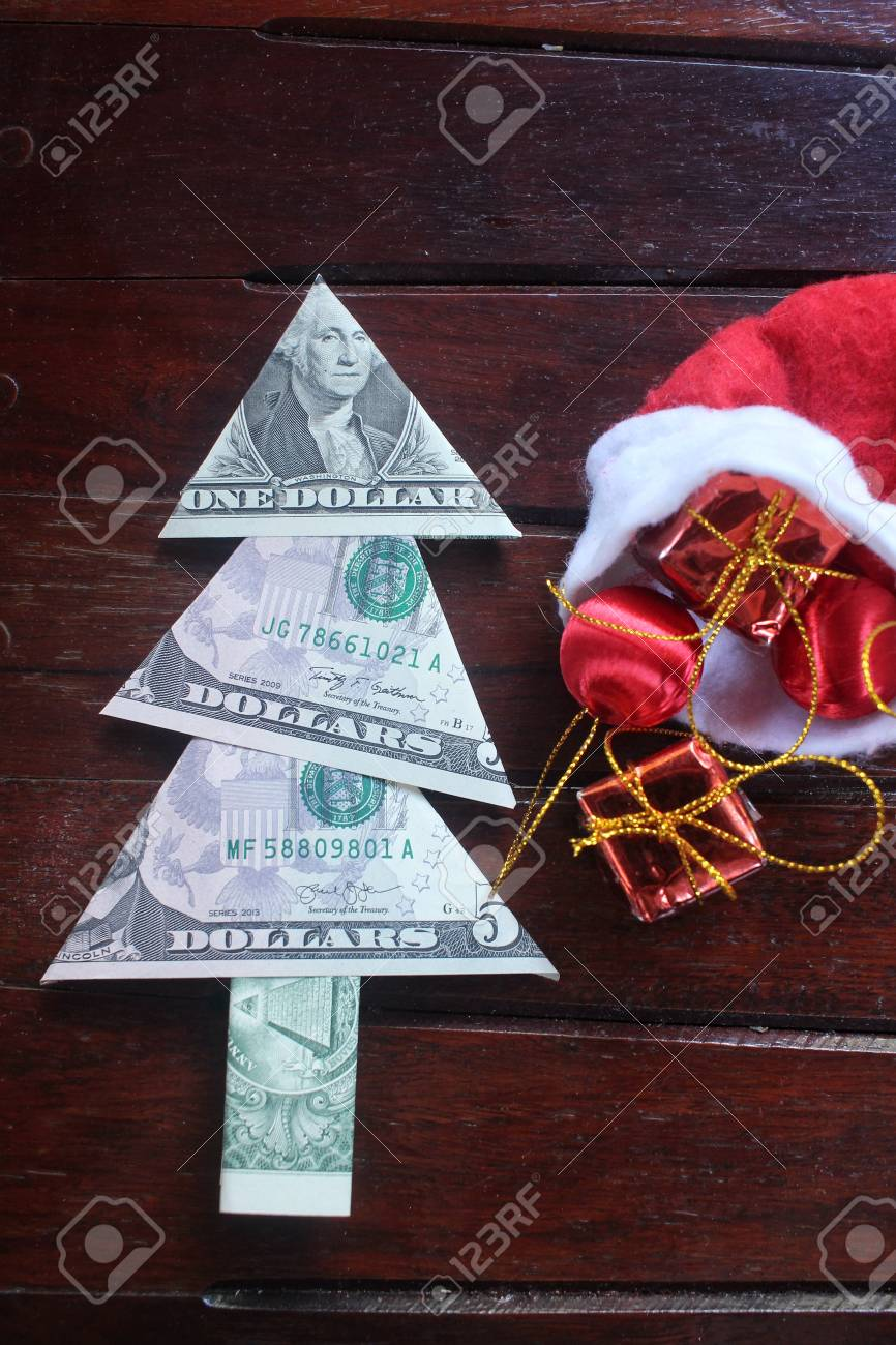 Christmas Tree Of Dollar With Gifts Stock Photo, Picture And Royalty ...