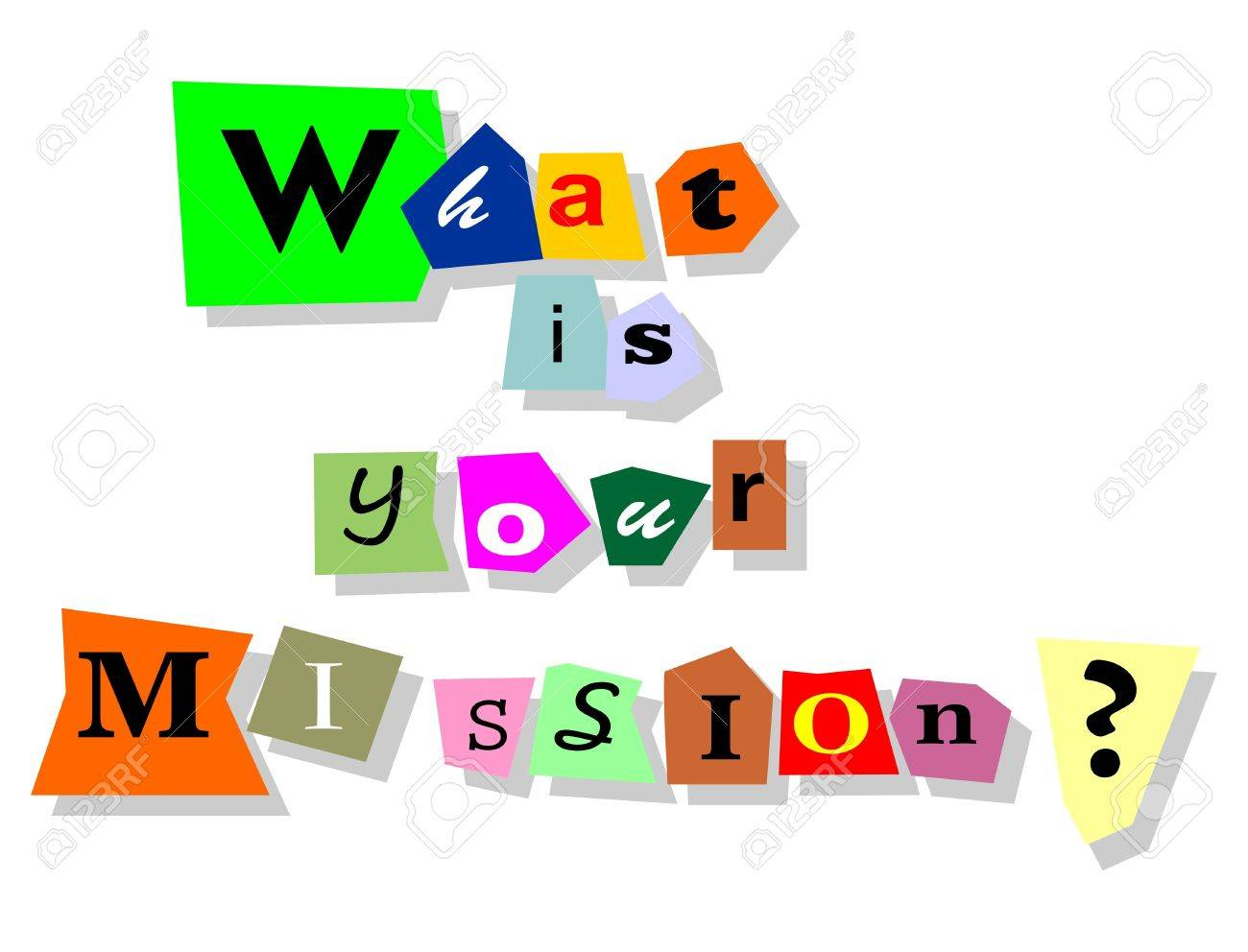 What is your mission question - text collage with isolated words in paper cuts Stock Vector - 17321013