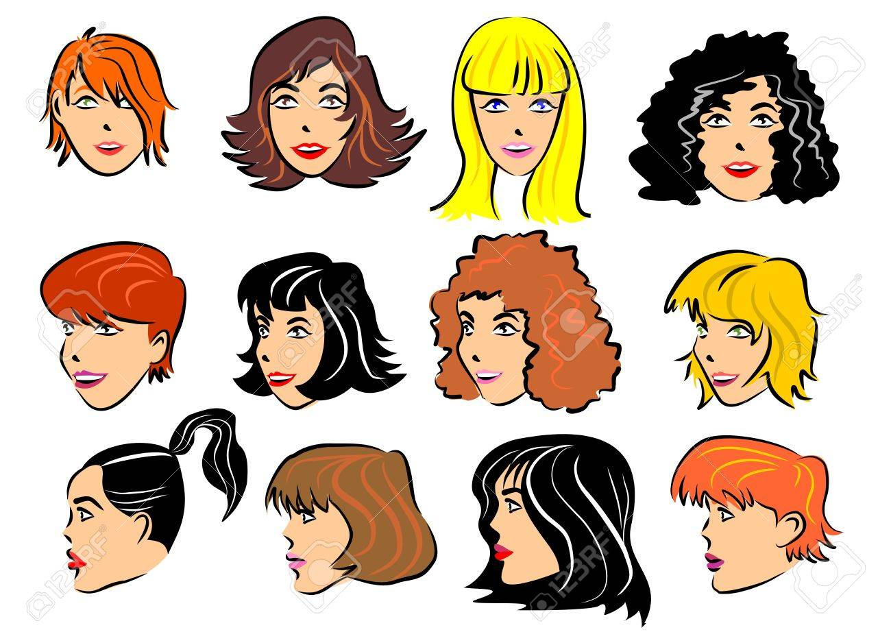 Faces Of Women With Different Hairstyles And Hair Colors Royalty