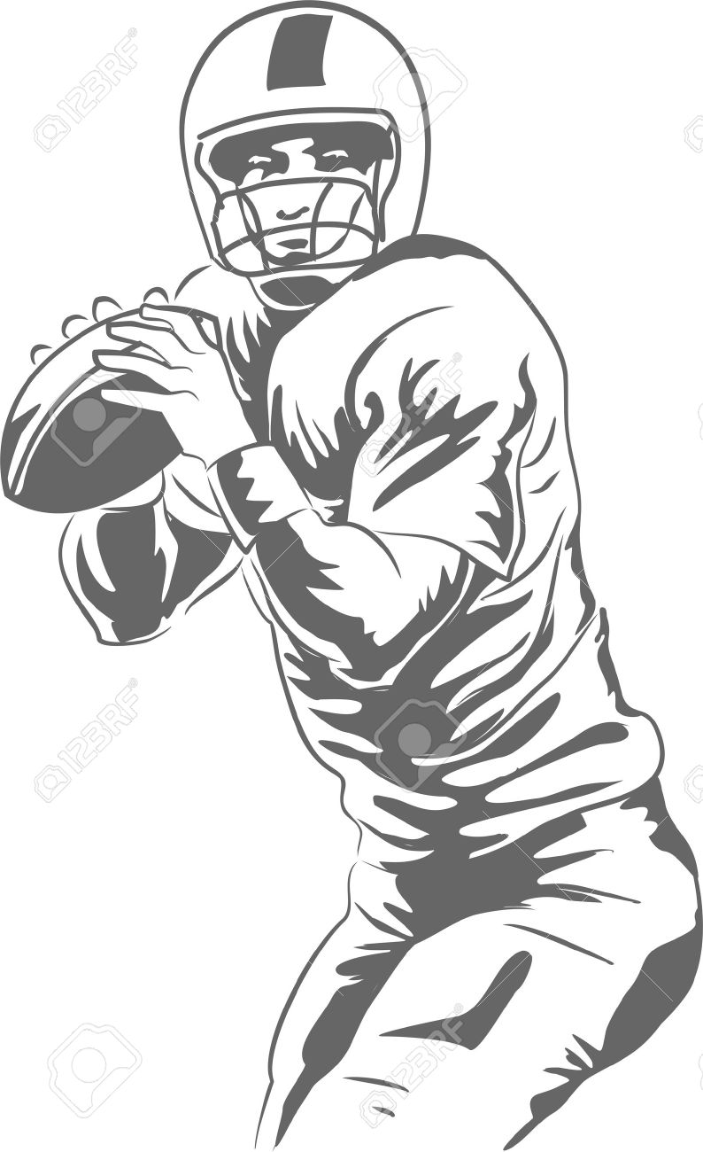 Vector Illustration Of A Football Quarterback About To Throw