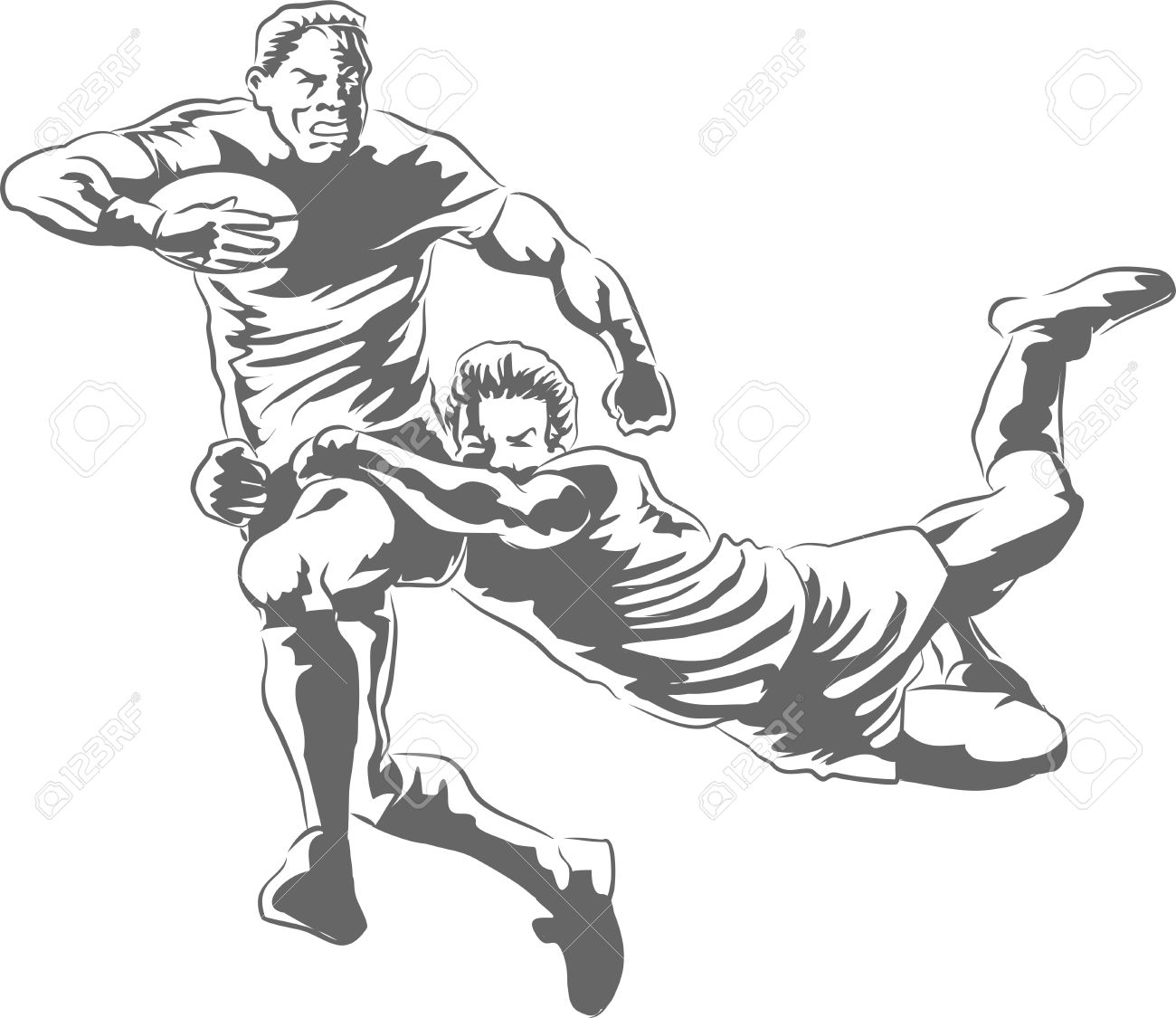 English Rugby Action, a hand reaches out in desperation as forward sprints for the line Stock Vector - 18875694