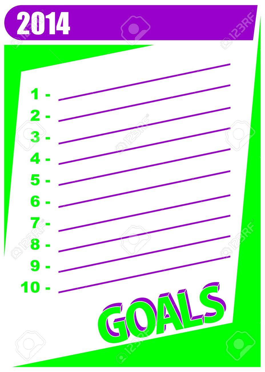 List of 10 personal goals to accomplish in the year. 2014 goals - New Year resolution concept. Stock Vector - 19217727