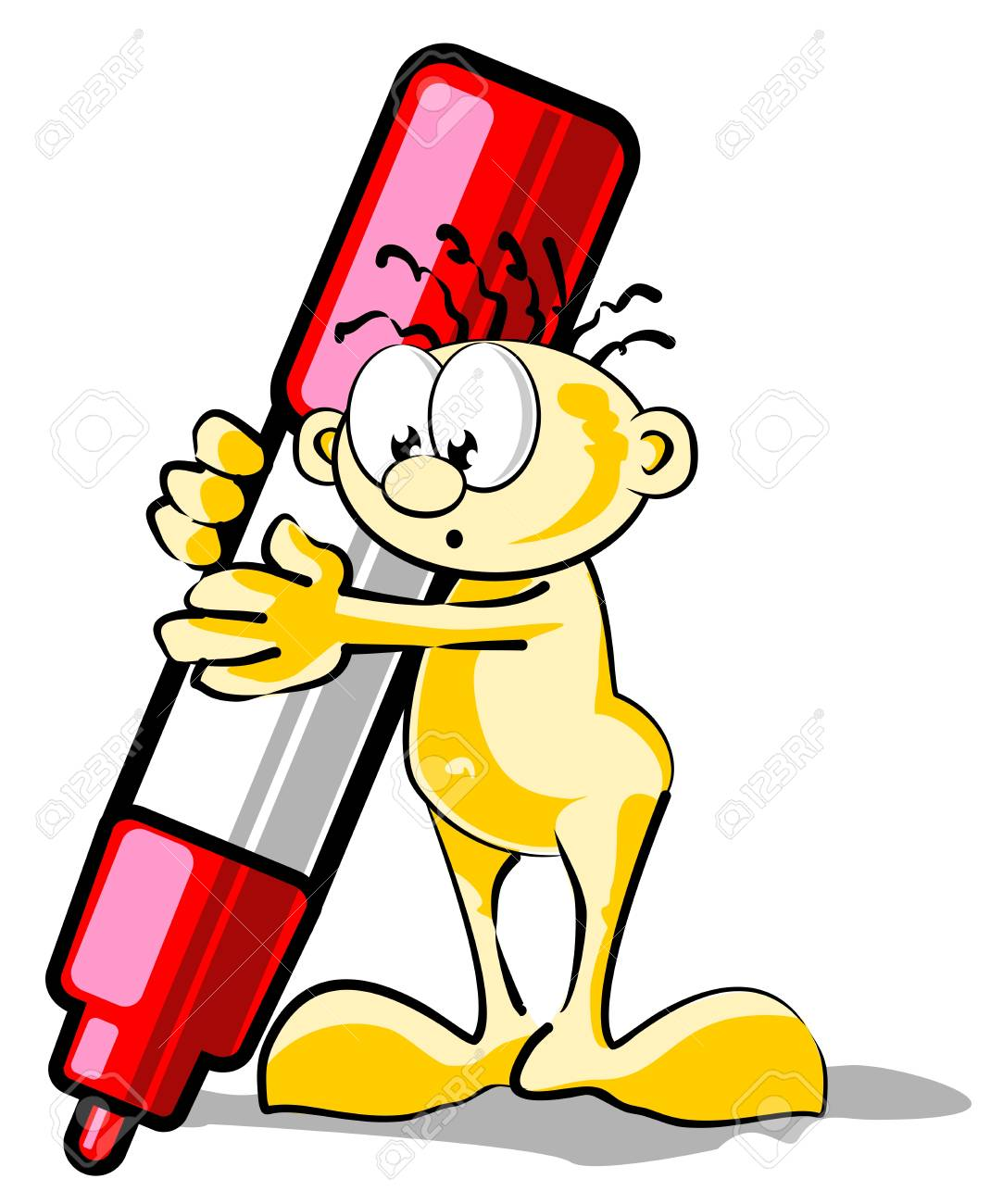 Conceptual illustration. A little man carrying a huge red marker. Stock Vector - 21458017