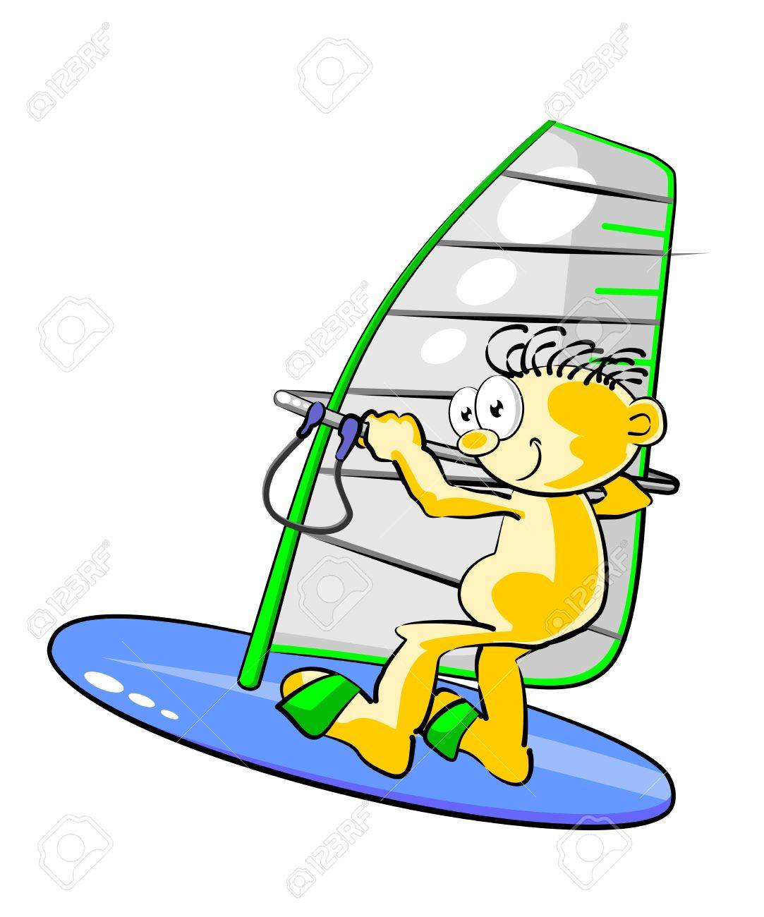 Conceptual illustration about windsurfing, vacation and enjoy life Stock Vector - 21458296